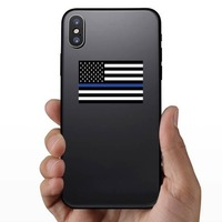 The Thin Blue Line Us Flag Sticker on a Phone example