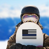 The Thin Blue Line Us Flag Sticker on a Snowboard example