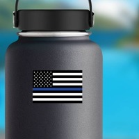 The Thin Blue Line Us Flag Sticker on a Water Bottle example