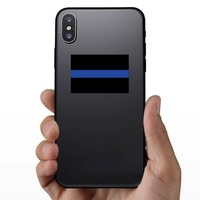Thin Blue Line Flag Sticker on a Phone example