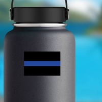 Thin Blue Line Flag Sticker on a Water Bottle example