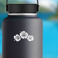 Three Hibiscus Flowers Corner Sticker on a Water Bottle example