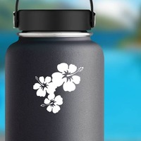 Three Lovely Hibiscus Flowers Corner Sticker on a Water Bottle example