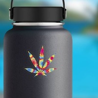 Tie Dye Pot Leaf Hippie Sticker on a Water Bottle example