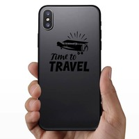 Time To Travel Sticker on a Phone example