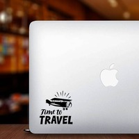 Time To Travel Sticker on a Laptop example