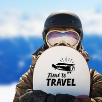 Time To Travel Sticker on a Snowboard example
