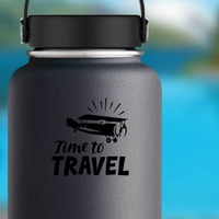 Time To Travel Sticker on a Water Bottle example