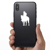 Tired Cowboy And Horse Sticker on a Phone example