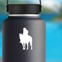 Tired Cowboy And Horse Sticker on a Water Bottle example