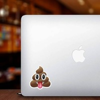 Tongue Stuck Out Poop Emoji Sticker on a Laptop example