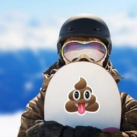 Tongue Stuck Out Poop Emoji Sticker on a Snowboard example