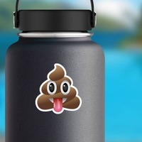Tongue Stuck Out Poop Emoji Sticker on a Water Bottle example