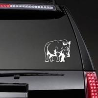 Tough Rhinoceros Sticker on a Rear Car Window example