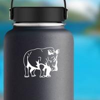 Tough Rhinoceros Sticker on a Water Bottle example
