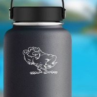 Tough Rooster Sticker on a Water Bottle example