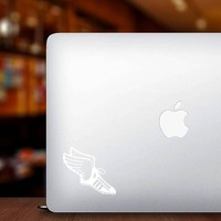 Track & Field Runner Shoe With Wings Sticker on a Laptop example
