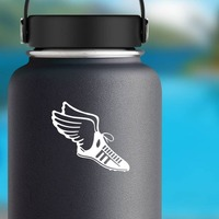 Track & Field Runner Shoe With Wings Sticker on a Water Bottle example