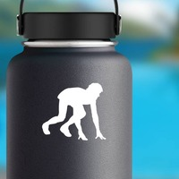 Track & Field Runner Starting Position Sticker on a Water Bottle example