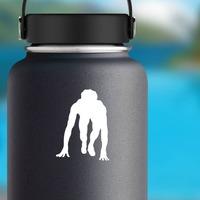 Track & Field Runner Sticker on a Water Bottle example
