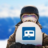 Trailer Camping Sticker on a Snowboard example