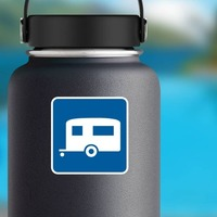 Trailer Camping Sticker on a Water Bottle example