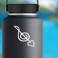 Treble Clef With Heart Music Sticker on a Water Bottle example