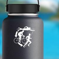 Triathlon, Swimmer, Biker, Runner Sticker on a Water Bottle example