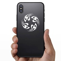 Tribal Flames In A Circle Sticker on a Phone example