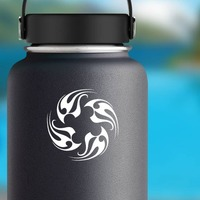 Tribal Flames In A Circle Sticker on a Water Bottle example