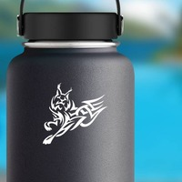Tribal Jumping Lynx Sticker on a Water Bottle example