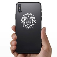 Tribal Lion Head Sticker on a Phone example