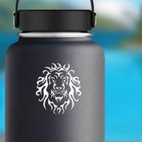 Tribal Lion Head Sticker on a Water Bottle example