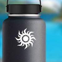 Tribal Sun Inside Sun Sticker on a Water Bottle example