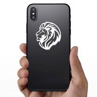 Triumphant Lion Head Sticker on a Phone example