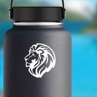 Triumphant Lion Head Sticker on a Water Bottle example
