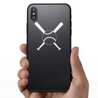Two Bats & A Baseball Softball Sticker on a Phone example