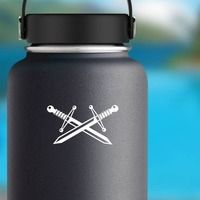 Two Crossed Swords Sticker on a Water Bottle example
