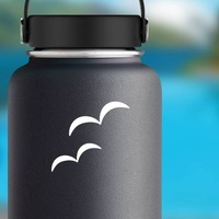 Two Hump Seagulls Sticker on a Water Bottle example