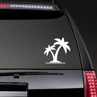 Two Palm Trees On Island Sticker on a Rear Car Window example