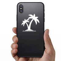 Two Palm Trees On Island Sticker on a Phone example