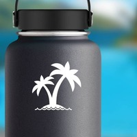 Two Palm Trees On Island Sticker on a Water Bottle example