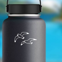 Two Seagulls Sticker on a Water Bottle example
