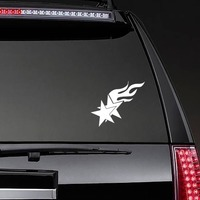 Two Stars With Flames Sticker on a Rear Car Window example