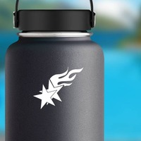 Two Stars With Flames Sticker on a Water Bottle example
