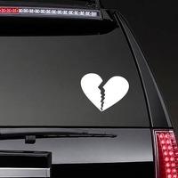 Unhappy Broken Heart Sticker on a Rear Car Window example