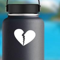 Unhappy Broken Heart Sticker on a Water Bottle example