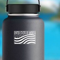 United States Of America Sticker on a Water Bottle example