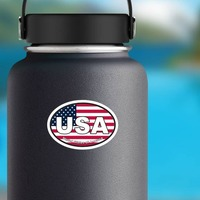 United States Of America Usa American Flag Oval Sticker on a Water Bottle example