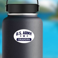 US Army Grandpa Oval Sticker on a Water Bottle example